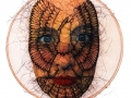 No title-selfpotrait (2004) Transferprint and horsehair on chamois leather (32 cm)